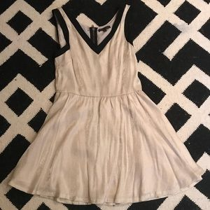 Lucca Couture ivory black v neck dress